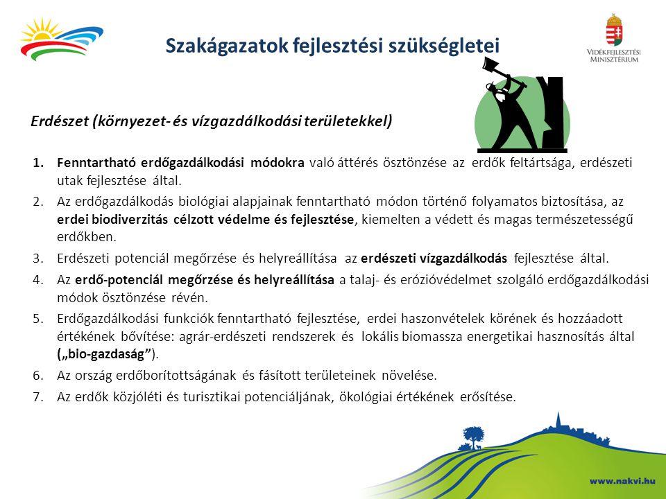 Erdészet (környezet- és vízgazdálkodási területekkel) 1.Fenntartható erdőgazdálkodási módokra való áttérés ösztönzése az erdők feltártsága, erdészeti