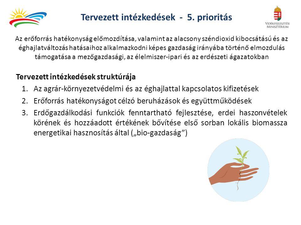 Tervezett intézkedések - 5. prioritás Tervezett intézkedések struktúrája 1.Az agrár-környezetvédelmi és az éghajlattal kapcsolatos kifizetések 2.Erőfo