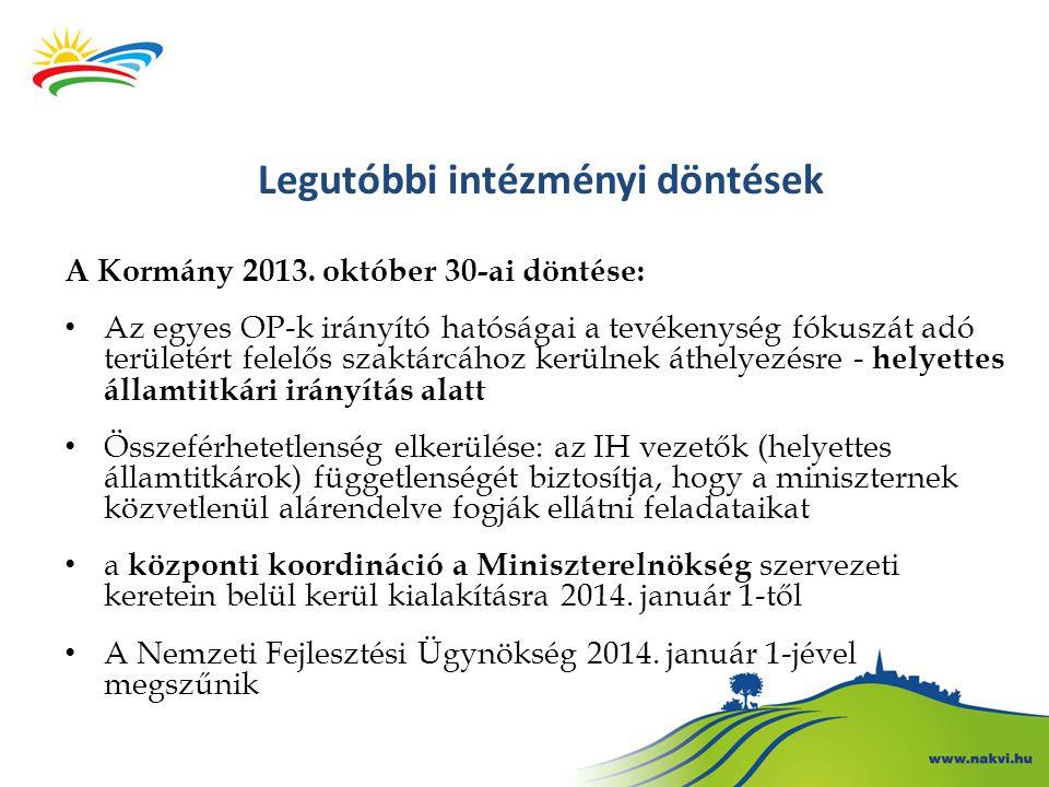 Legutóbbi intézményi döntések A Kormány 2013. október 30-ai döntése: Az egyes OP-k irányító hatóságai a tevékenység fókuszát adó területért felelős sz