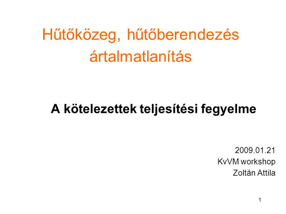 1 Hűtőközeg, hűtőberendezés ártalmatlanítás A kötelezettek teljesítési fegyelme 2009.01.21 KvVM workshop Zoltán Attila