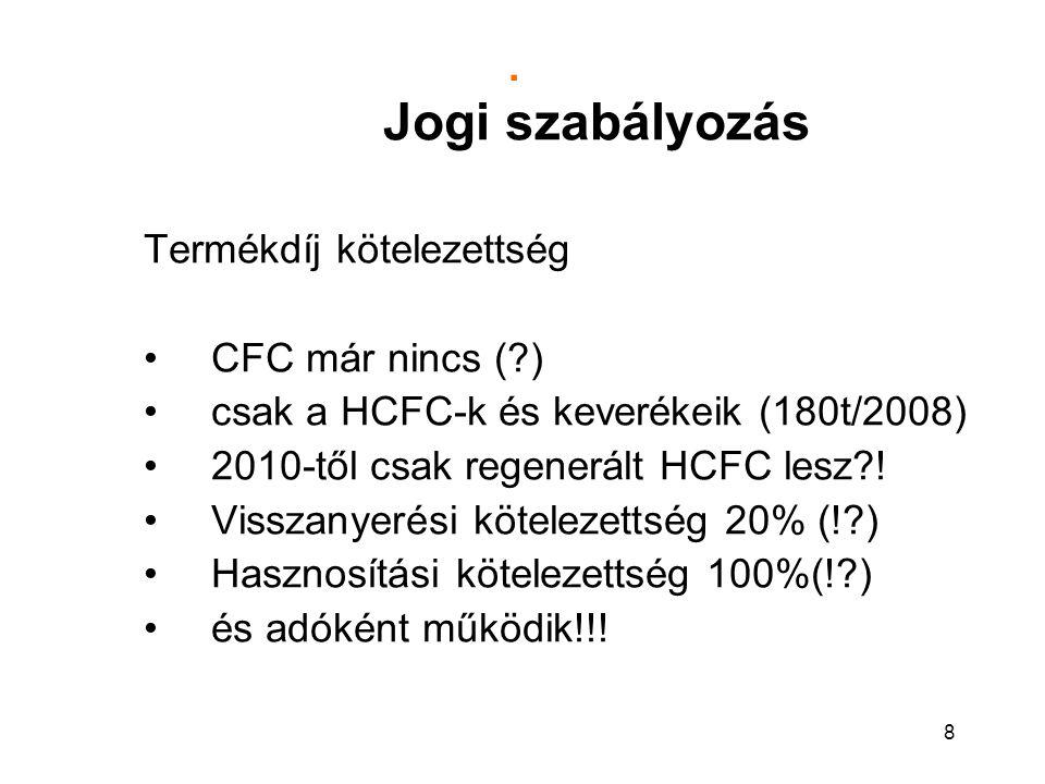8. Jogi szabályozás Termékdíj kötelezettség CFC már nincs (?) csak a HCFC-k és keverékeik (180t/2008) 2010-től csak regenerált HCFC lesz?! Visszanyeré
