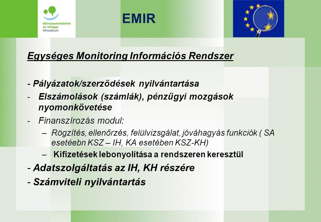 EMIR Egységes Monitoring Információs Rendszer - Pályázatok/szerződések nyilvántartása -Elszámolások (számlák), pénzügyi mozgások nyomonkövetése -Finan