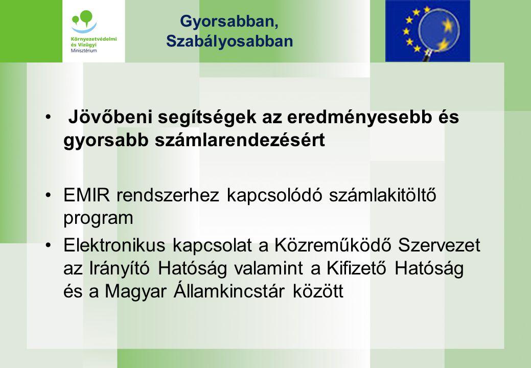 Gyorsabban, Szabályosabban Jövőbeni segítségek az eredményesebb és gyorsabb számlarendezésért EMIR rendszerhez kapcsolódó számlakitöltő program Elektronikus kapcsolat a Közreműködő Szervezet az Irányító Hatóság valamint a Kifizető Hatóság és a Magyar Államkincstár között