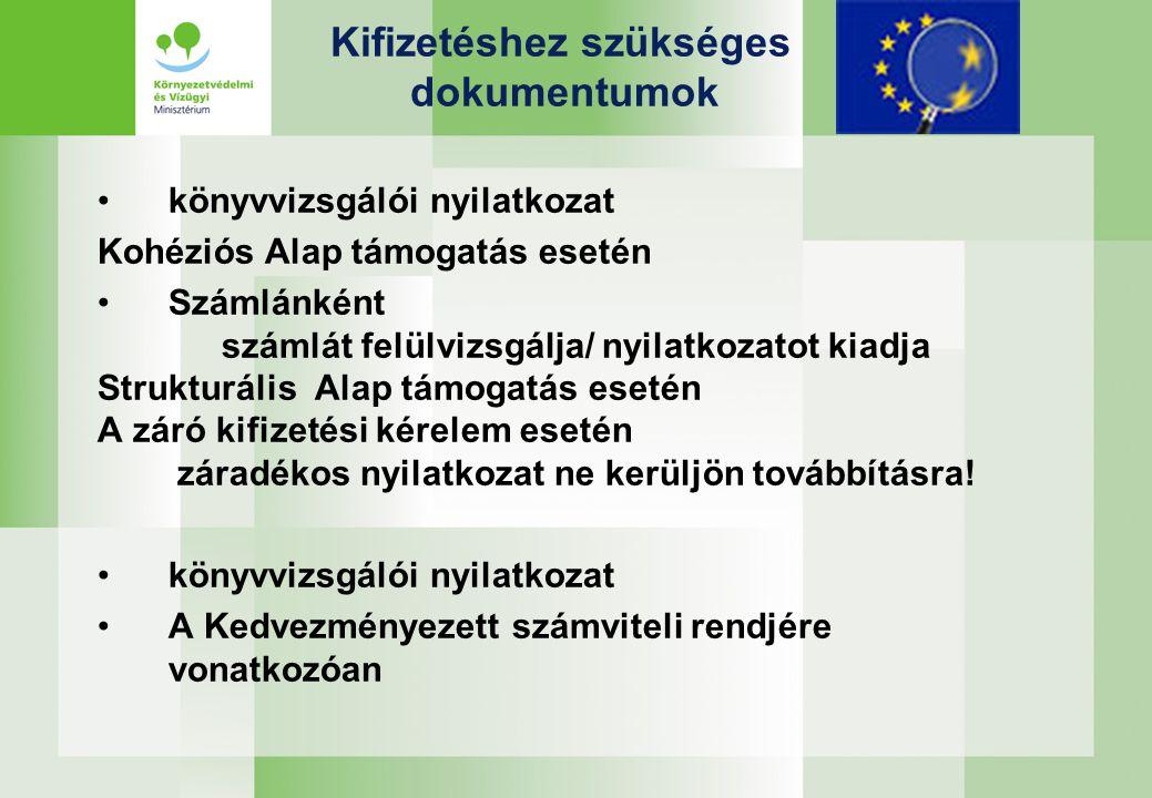 Kifizetéshez szükséges dokumentumok könyvvizsgálói nyilatkozat Kohéziós Alap támogatás esetén Számlánként számlát felülvizsgálja/ nyilatkozatot kiadja