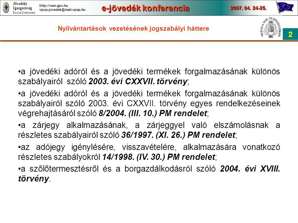 Jövedéki Igazgatóság Excise Directorate e-jövedék konferencia 2007. 04. 24-25. 2 http://vam.gov.hu vpop.jovedek@mail.vpop.hu Nyilvántartások vezetésén
