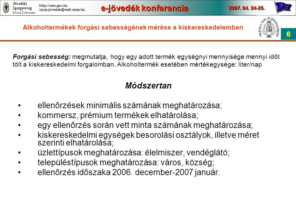 Jövedéki Igazgatóság Excise Directorate e-jövedék konferencia 2007. 04. 24-25. 6 http://vam.gov.hu vpop.jovedek@mail.vpop.hu Alkoholtermékek forgási s