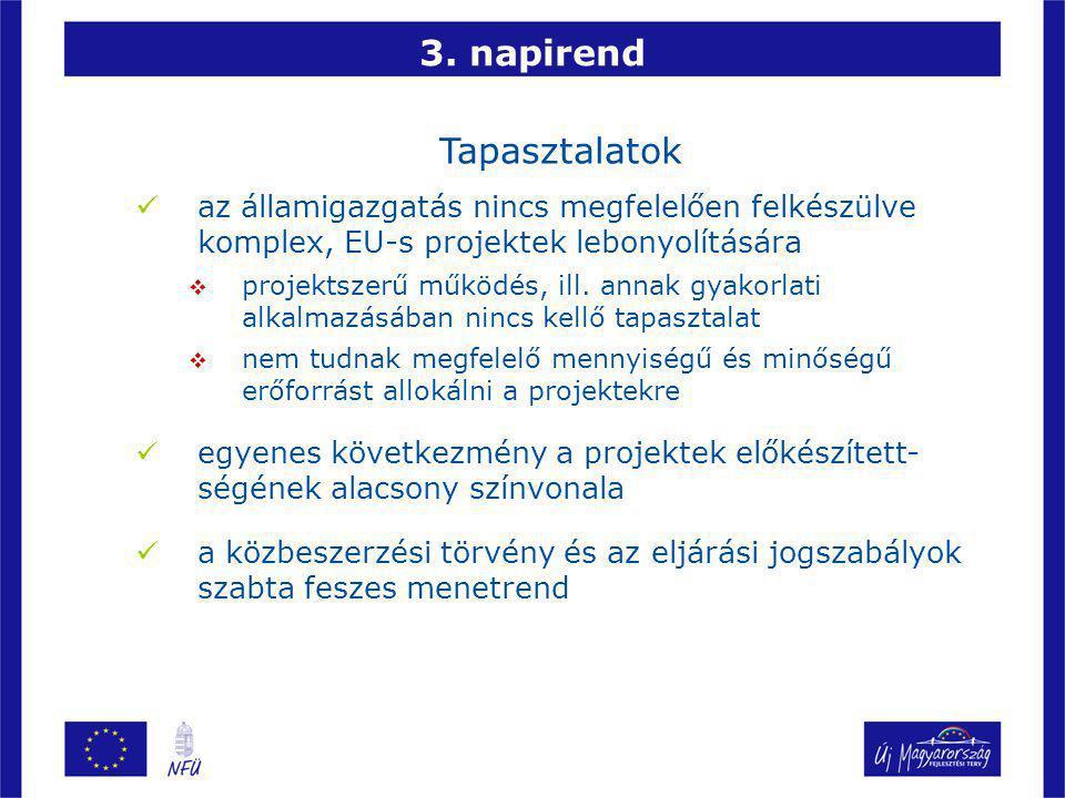 3. napirend Tapasztalatok az államigazgatás nincs megfelelően felkészülve komplex, EU-s projektek lebonyolítására  projektszerű működés, ill. annak g
