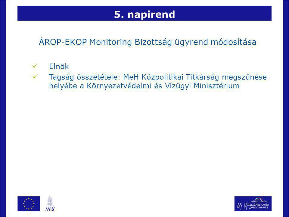 5. napirend ÁROP-EKOP Monitoring Bizottság ügyrend módosítása Elnök Tagság összetétele: MeH Közpolitikai Titkárság megszűnése helyébe a Környezetvédel