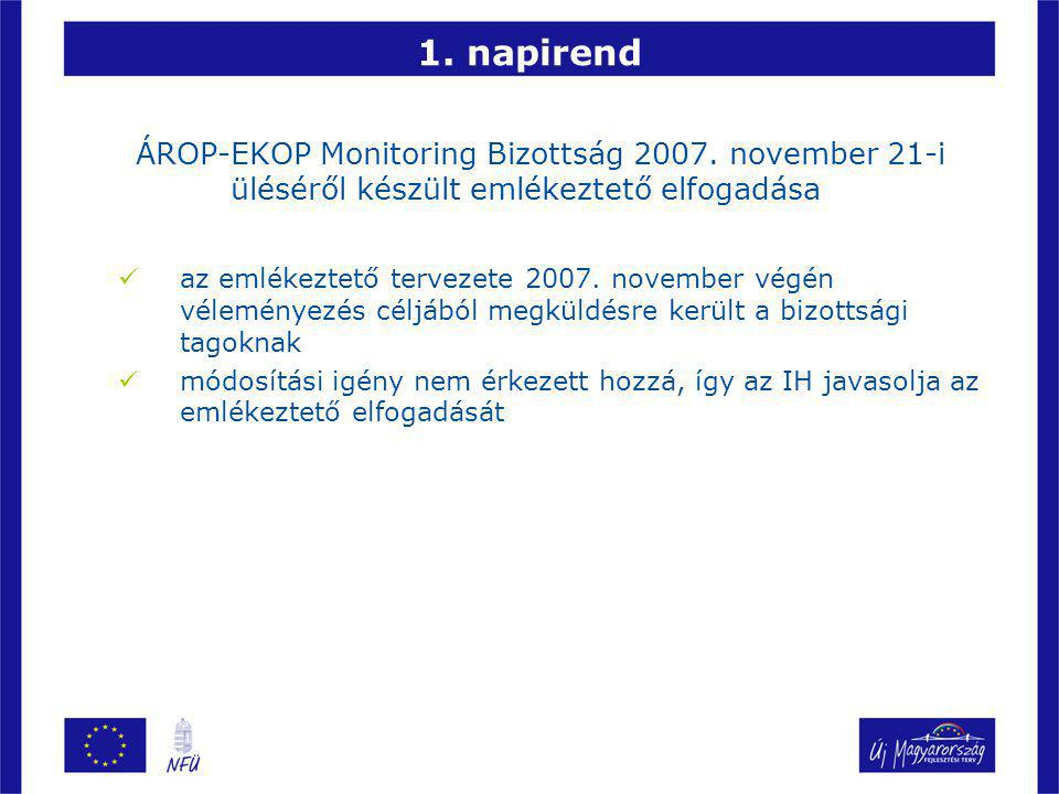1. napirend ÁROP-EKOP Monitoring Bizottság 2007.