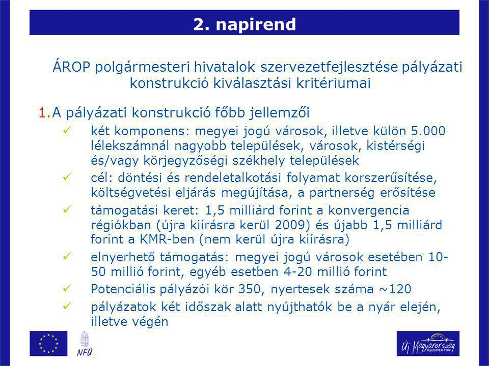 2. napirend ÁROP polgármesteri hivatalok szervezetfejlesztése pályázati konstrukció kiválasztási kritériumai 1.A pályázati konstrukció főbb jellemzői