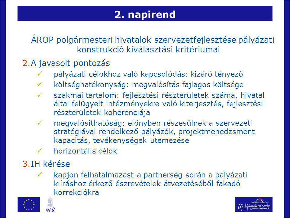 2. napirend ÁROP polgármesteri hivatalok szervezetfejlesztése pályázati konstrukció kiválasztási kritériumai 2.A javasolt pontozás pályázati célokhoz