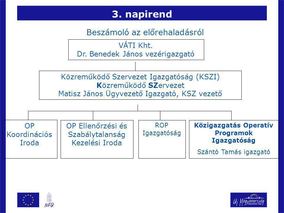 3. napirend Beszámoló az előrehaladásról VÁTI Kht.