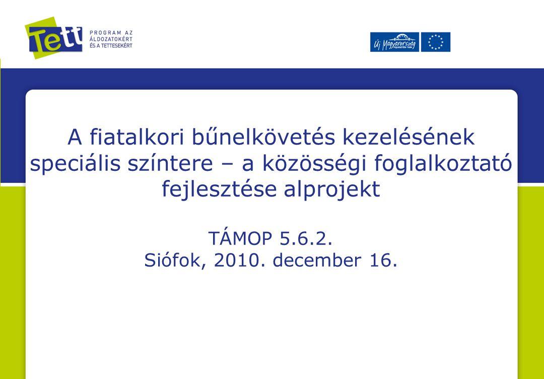 A fiatalkori bűnelkövetés kezelésének speciális színtere – a közösségi foglalkoztató fejlesztése alprojekt TÁMOP 5.6.2. Siófok, 2010. december 16.