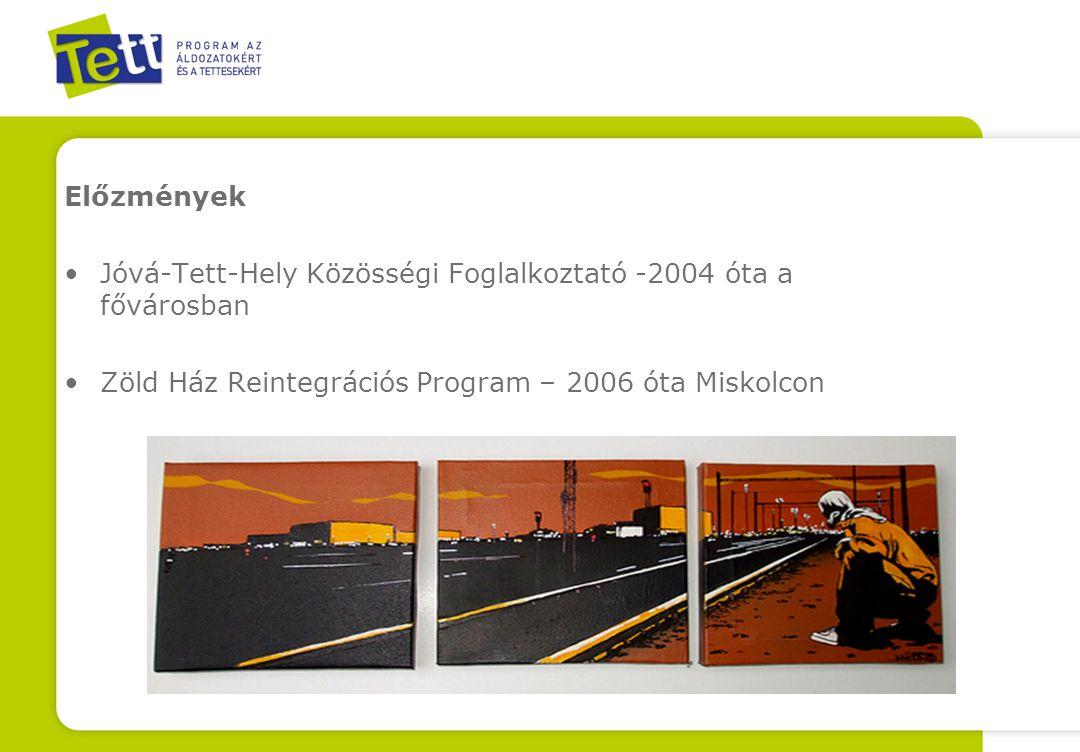 Előzmények Jóvá-Tett-Hely Közösségi Foglalkoztató -2004 óta a fővárosban Zöld Ház Reintegrációs Program – 2006 óta Miskolcon
