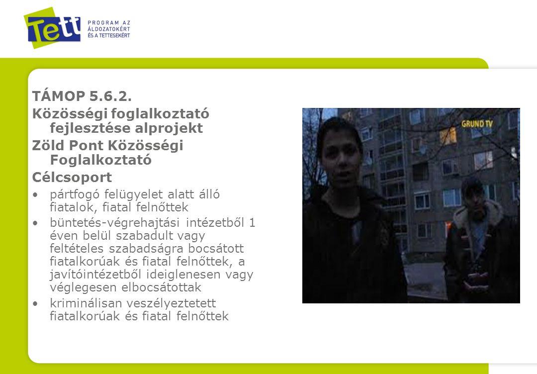 TÁMOP 5.6.2. Közösségi foglalkoztató fejlesztése alprojekt Zöld Pont Közösségi Foglalkoztató Célcsoport pártfogó felügyelet alatt álló fiatalok, fiata