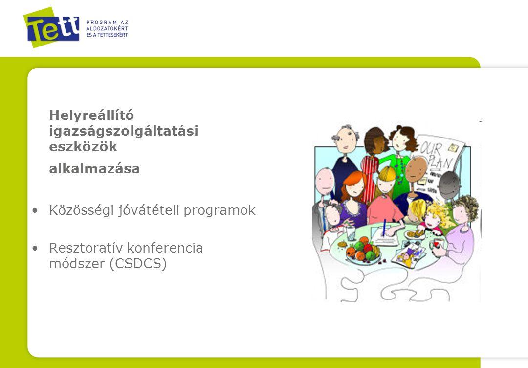 Helyreállító igazságszolgáltatási eszközök alkalmazása Közösségi jóvátételi programok Resztoratív konferencia módszer (CSDCS)