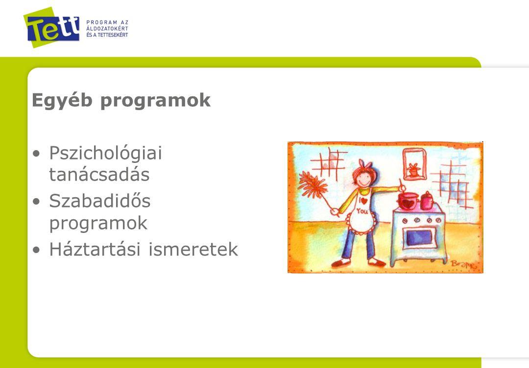 Egyéb programok Pszichológiai tanácsadás Szabadidős programok Háztartási ismeretek