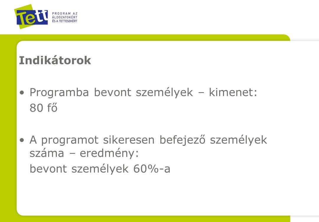 Indikátorok Programba bevont személyek – kimenet: 80 fő A programot sikeresen befejező személyek száma – eredmény: bevont személyek 60%-a
