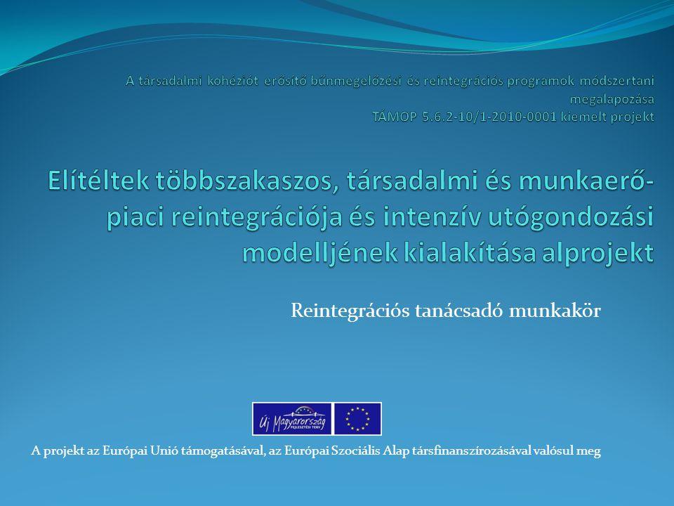 Reintegrációs tanácsadó munkakör A projekt az Európai Unió támogatásával, az Európai Szociális Alap társfinanszírozásával valósul meg