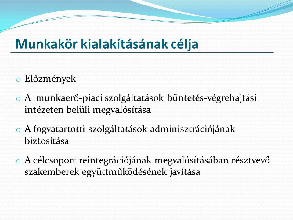 Munkakör kialakításának célja o Előzmények o A munkaerő-piaci szolgáltatások büntetés-végrehajtási intézeten belüli megvalósítása o A fogvatartotti sz
