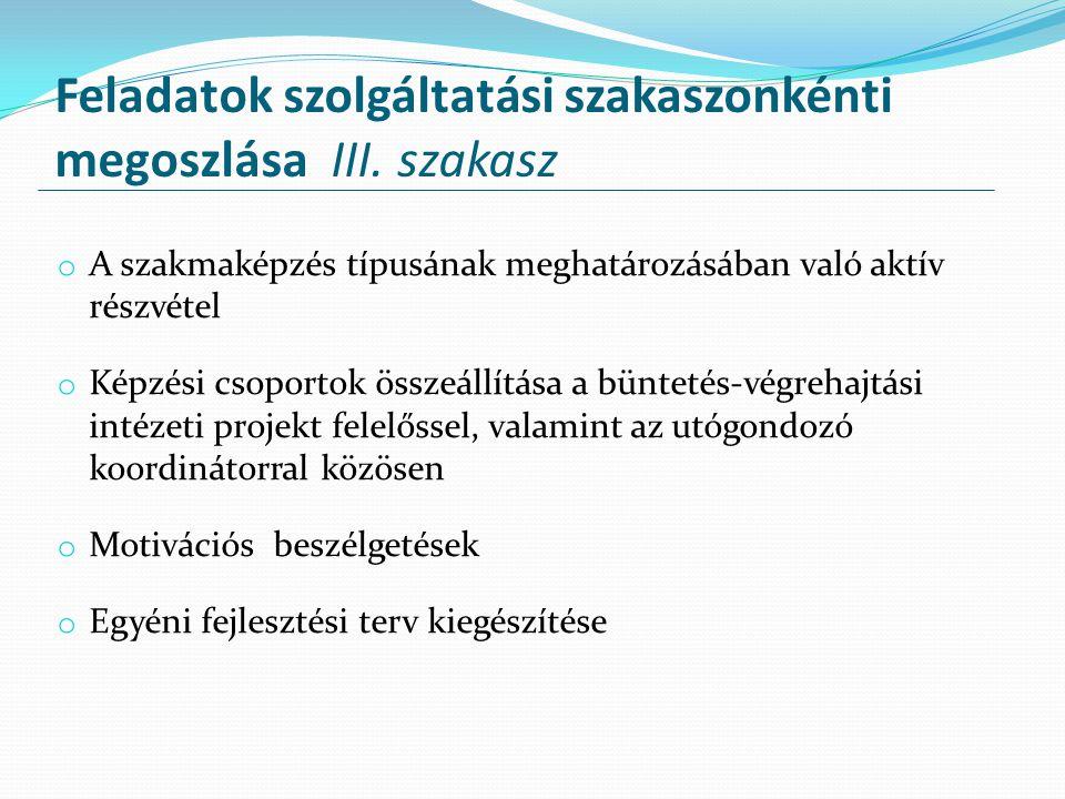 Feladatok szolgáltatási szakaszonkénti megoszlása III. szakasz o A szakmaképzés típusának meghatározásában való aktív részvétel o Képzési csoportok ös