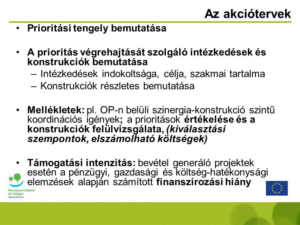 Az akciótervek Prioritási tengely bemutatása A prioritás végrehajtását szolgáló intézkedések és konstrukciók bemutatása –Intézkedések indokoltsága, célja, szakmai tartalma –Konstrukciók részletes bemutatása Mellékletek: pl.