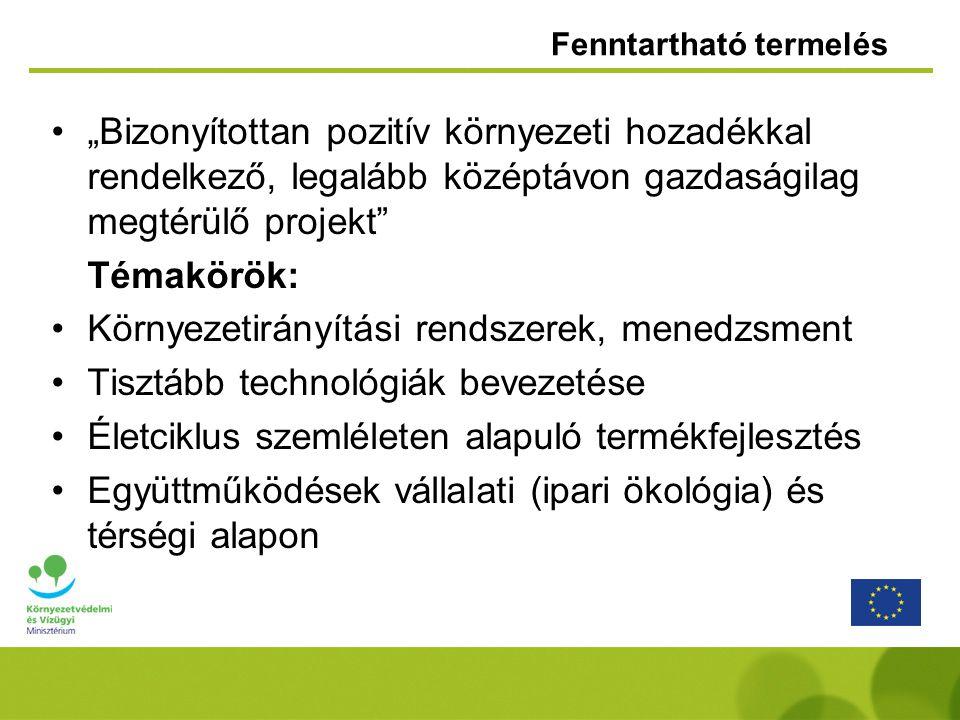 Fenntartható fogyasztási szokások ösztönzése 2007-2008 : 1,6 milliárd Ft konstrukcióprojektek mérete önerő mértéke 1.