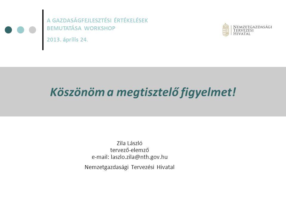 Köszönöm a megtisztelő figyelmet! Zila László tervező-elemző e-mail: laszlo.zila@nth.gov.hu Nemzetgazdasági Tervezési Hivatal A GAZDASÁGFEJLESZTÉSI ÉR