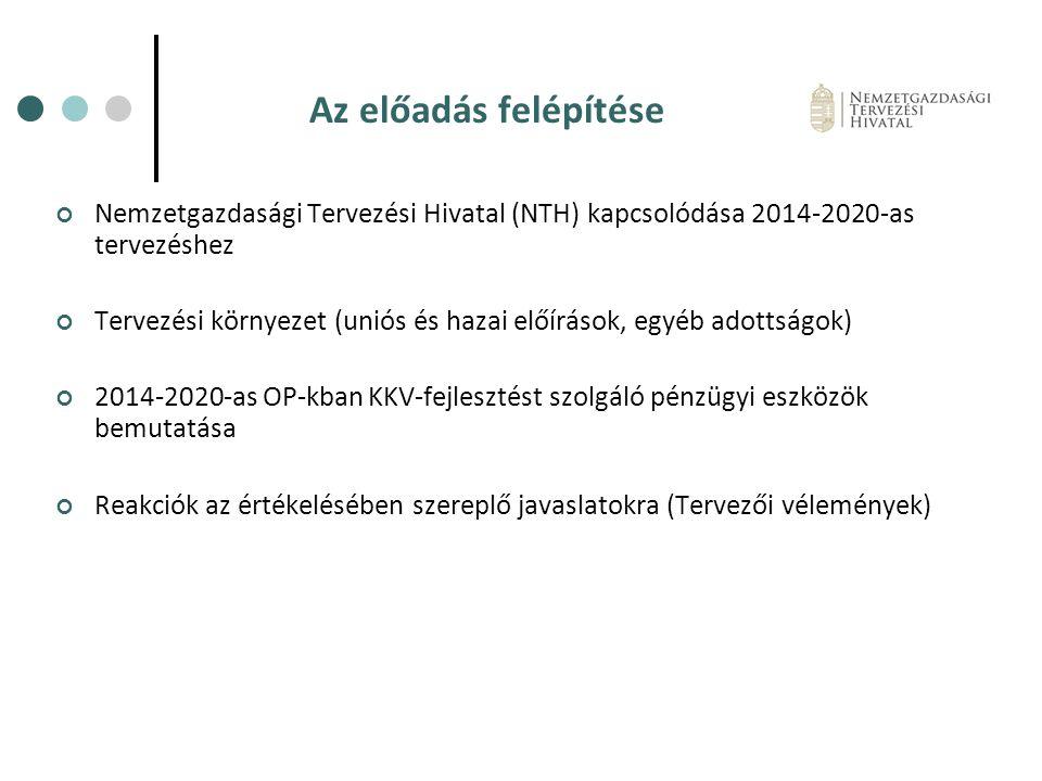 Az előadás felépítése Nemzetgazdasági Tervezési Hivatal (NTH) kapcsolódása 2014-2020-as tervezéshez Tervezési környezet (uniós és hazai előírások, egy