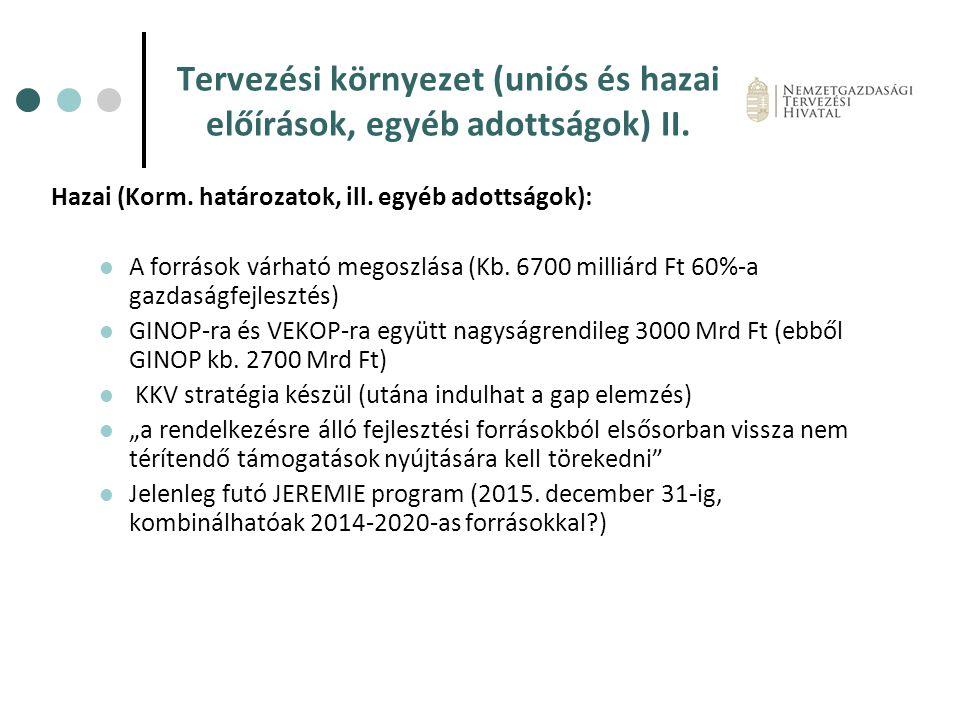 Tervezési környezet (uniós és hazai előírások, egyéb adottságok) II. Hazai (Korm. határozatok, ill. egyéb adottságok): A források várható megoszlása (