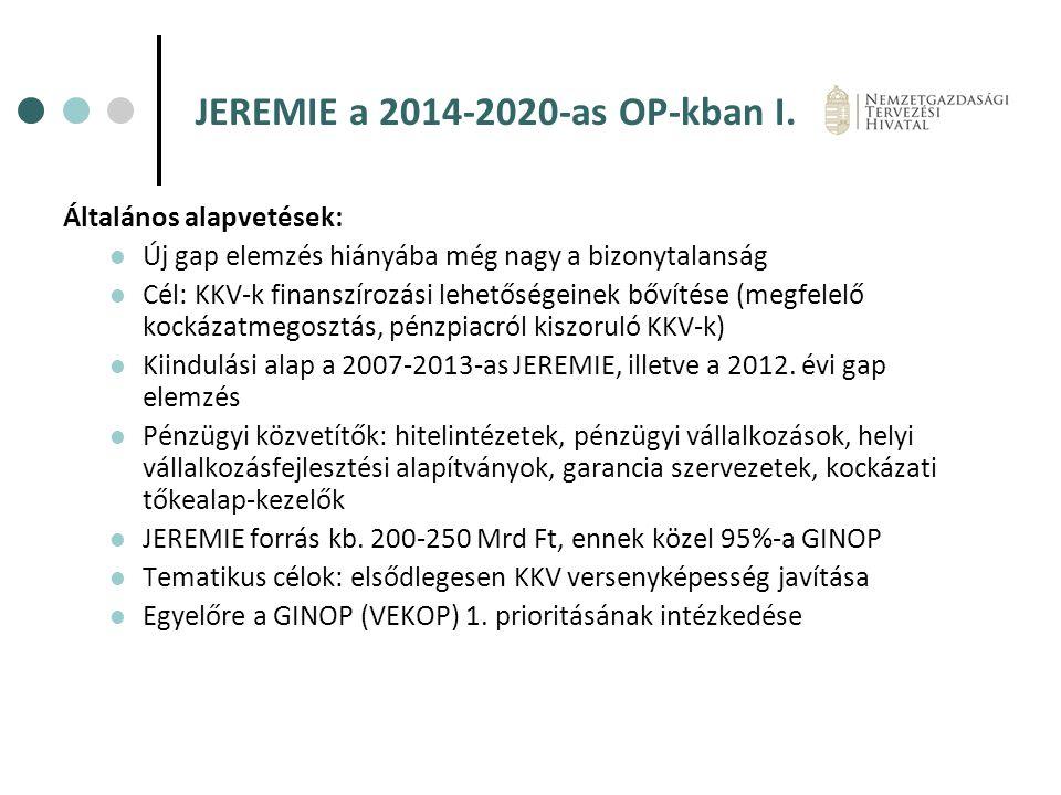 JEREMIE a 2014-2020-as OP-kban I. Általános alapvetések: Új gap elemzés hiányába még nagy a bizonytalanság Cél: KKV-k finanszírozási lehetőségeinek bő