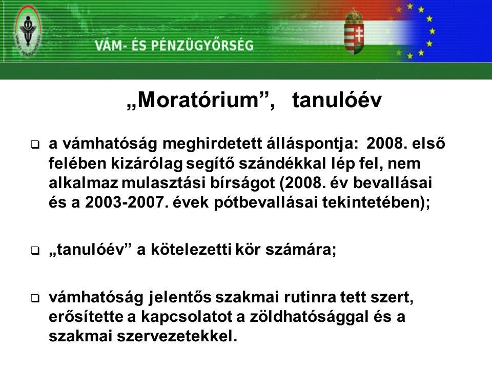 """""""Moratórium , tanulóév  a vámhatóság meghirdetett álláspontja: 2008."""