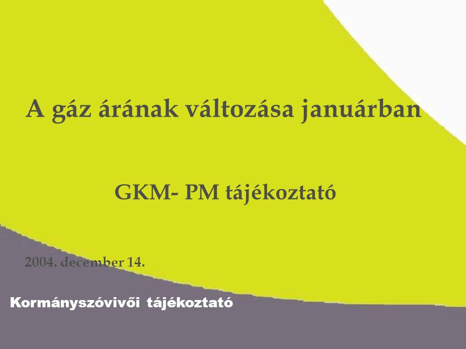 Kormányszóvivői tájékoztató Kisfogyasztók gázhasználatának többletköltsége 2005 4,5%