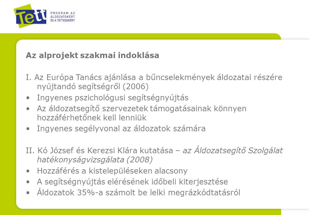 Az alprojekt szakmai indoklása I. Az Európa Tanács ajánlása a bűncselekmények áldozatai részére nyújtandó segítségről (2006) Ingyenes pszichológusi se