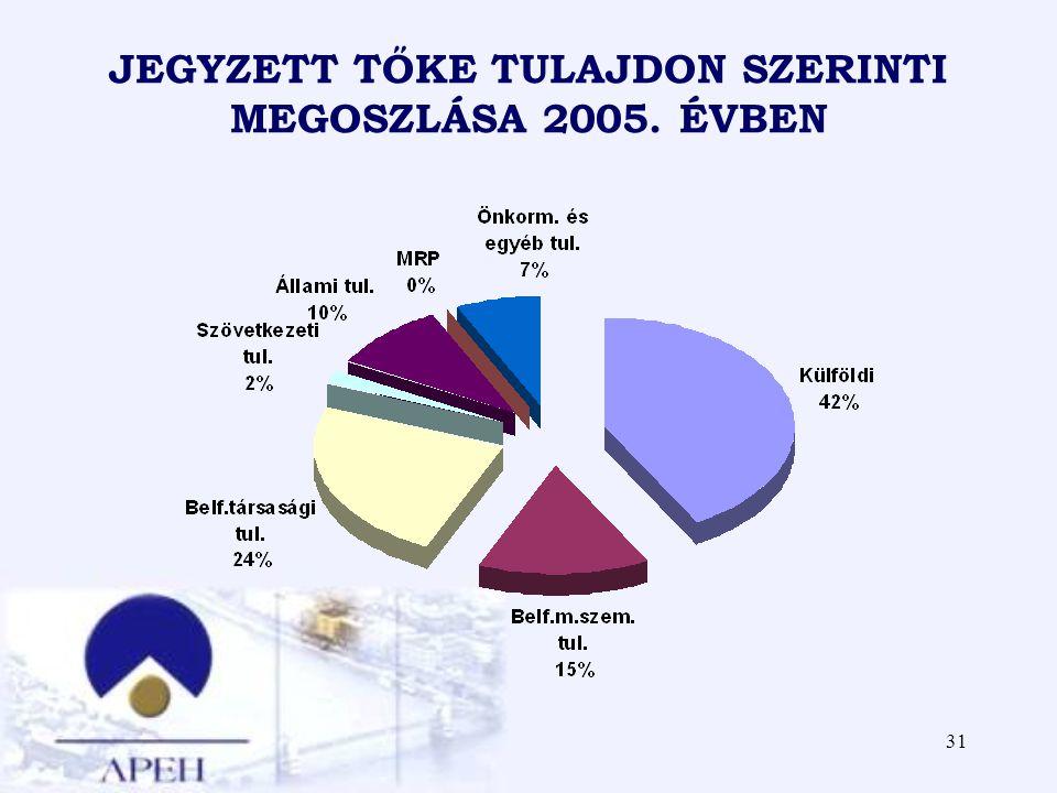31 JEGYZETT TŐKE TULAJDON SZERINTI MEGOSZLÁSA 2005. ÉVBEN