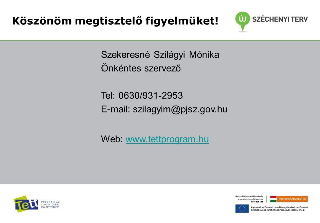 Szekeresné Szilágyi Mónika Önkéntes szervező Tel: 0630/931-2953 E-mail: szilagyim@pjsz.gov.hu Web: www.tettprogram.huwww.tettprogram.hu Köszönöm megtisztelő figyelmüket!