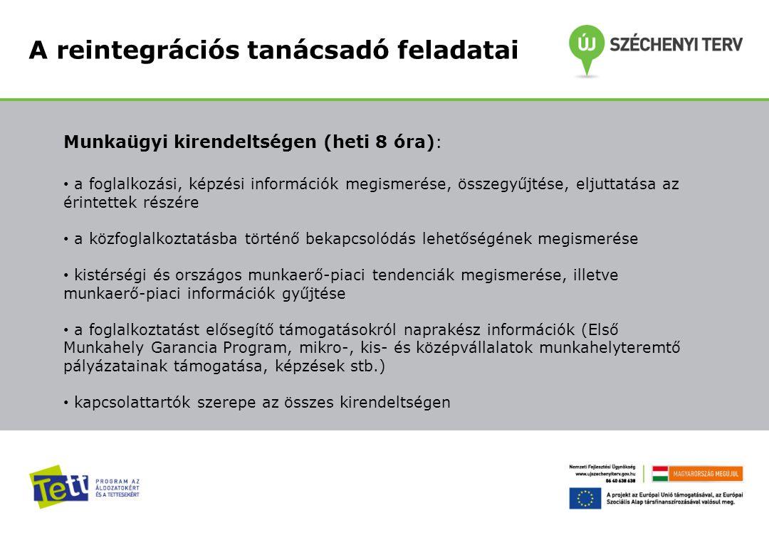 A reintegrációs tanácsadó feladatai Munkaügyi kirendeltségen (heti 8 óra): a foglalkozási, képzési információk megismerése, összegyűjtése, eljuttatása