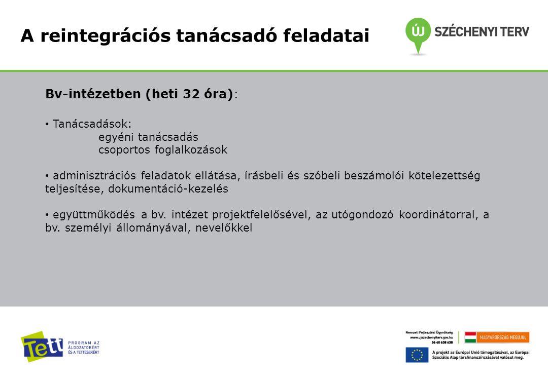 A reintegrációs tanácsadó feladatai Bv-intézetben (heti 32 óra): Tanácsadások: egyéni tanácsadás csoportos foglalkozások adminisztrációs feladatok ell