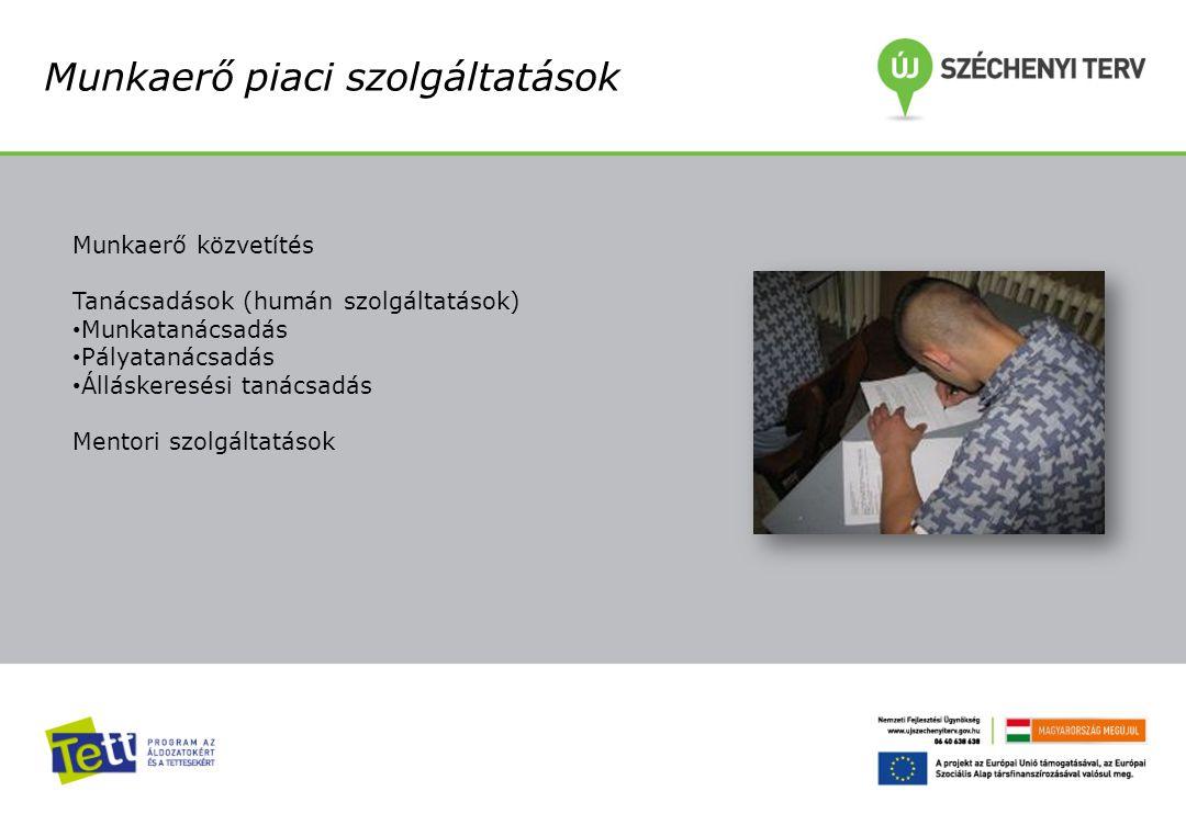 Munkaerő piaci szolgáltatások Munkaerő közvetítés Tanácsadások (humán szolgáltatások) Munkatanácsadás Pályatanácsadás Álláskeresési tanácsadás Mentori