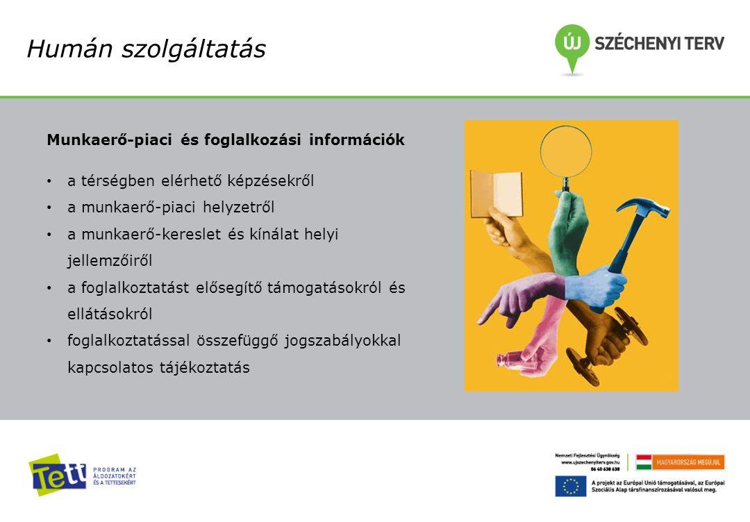 Humán szolgáltatás Munkaerő-piaci és foglalkozási információk a térségben elérhető képzésekről a munkaerő-piaci helyzetről a munkaerő-kereslet és kíná