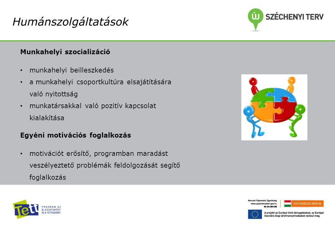 Humánszolgáltatások Munkahelyi szocializáció munkahelyi beilleszkedés a munkahelyi csoportkultúra elsajátítására való nyitottság munkatársakkal való p