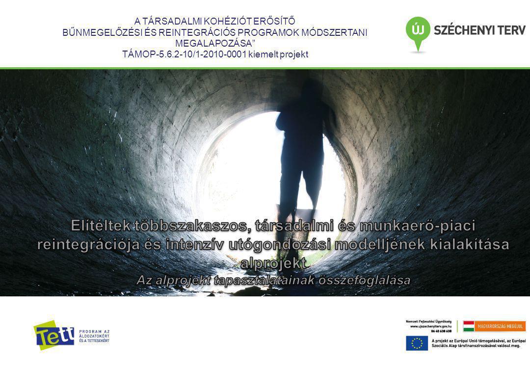 Prezentáció címsor A TÁRSADALMI KOHÉZIÓT ERŐSÍTŐ BŰNMEGELŐZÉSI ÉS REINTEGRÁCIÓS PROGRAMOK MÓDSZERTANI MEGALAPOZÁSA TÁMOP-5.6.2-10/1-2010-0001 kiemelt projekt
