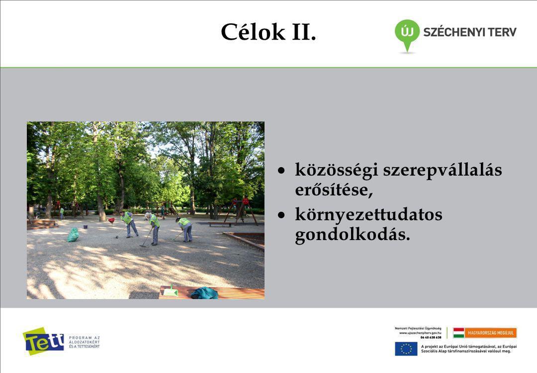 Célok II.  közösségi szerepvállalás erősítése,  környezettudatos gondolkodás.