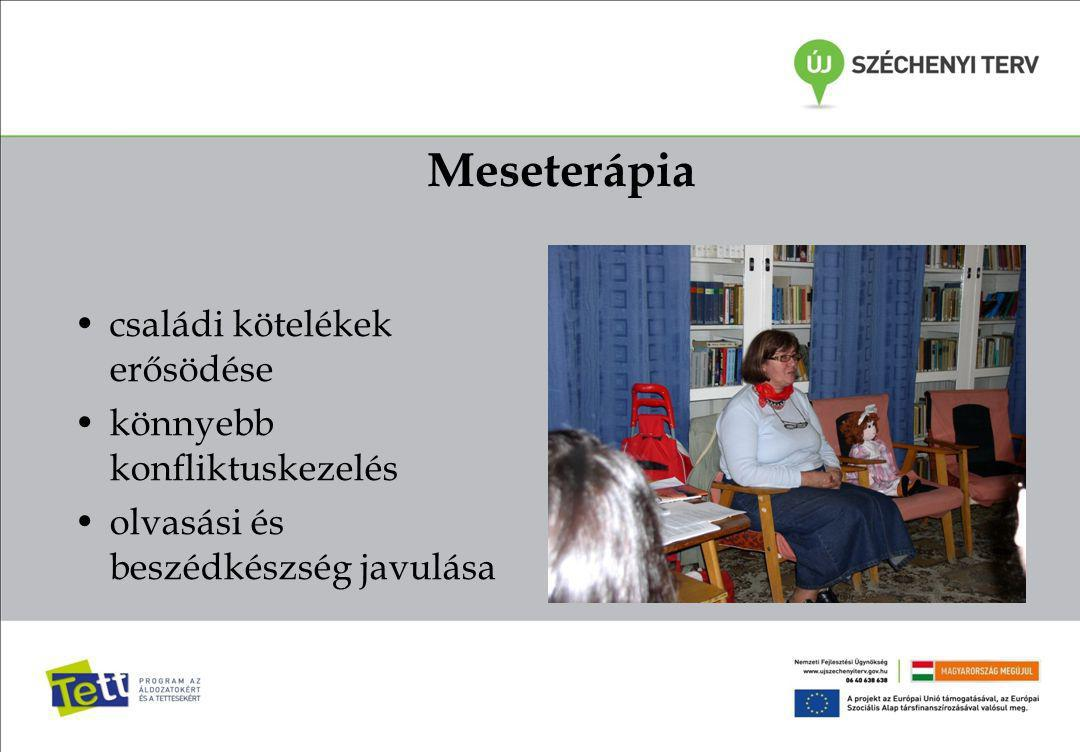 Meseterápia családi kötelékek erősödése könnyebb konfliktuskezelés olvasási és beszédkészség javulása