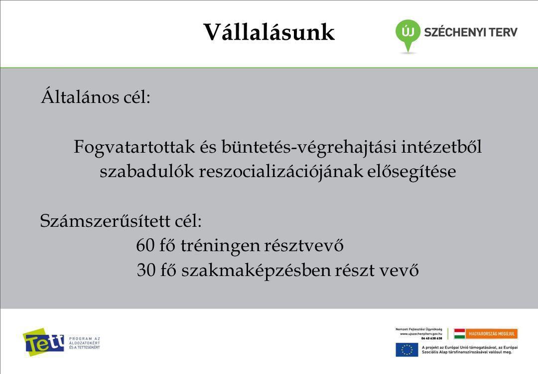 Vállalásunk Általános cél: Fogvatartottak és büntetés-végrehajtási intézetből szabadulók reszocializációjának elősegítése Számszerűsített cél: 60 fő t