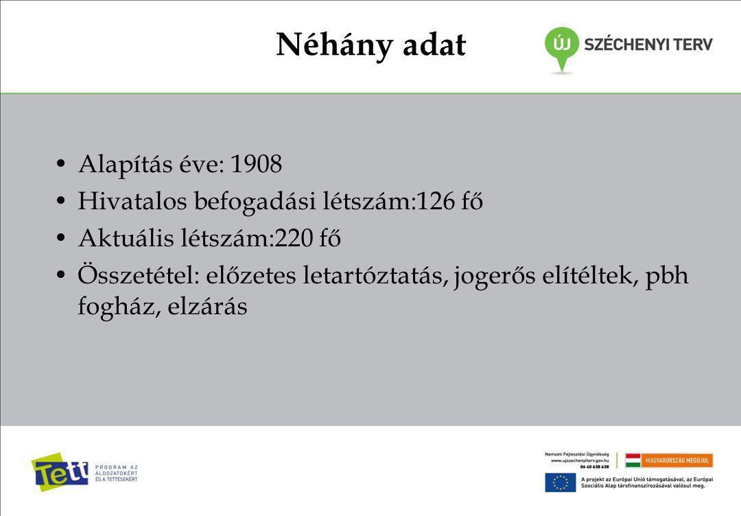 Néhány adat Alapítás éve: 1908 Hivatalos befogadási létszám:126 fő Aktuális létszám:220 fő Összetétel: előzetes letartóztatás, jogerős elítéltek, pbh fogház, elzárás