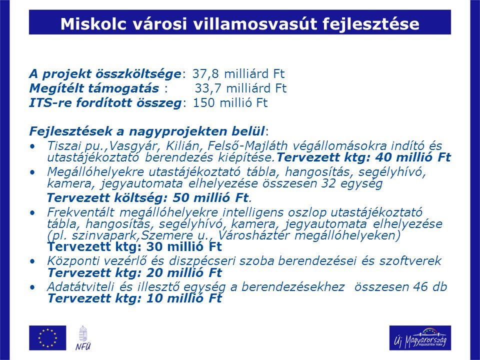 Debrecen városi villamoshálózat fejlesztése (2-es vonal) A projekt összköltsége: 17,7 milliárd Ft Megítélt támogatás : 15,8 milliárd Ft ITS-re fordított összeg: 97 millió Ft Fejlesztés területei : 1.Járműbeszerzéshez kapcsolódó utastájékoztatási rendszer fontosabb elemei.(központi fedélzeti egység, hangosbemondó, képi tájékoztatás, célállomás jelző, fedélzeti adatrögzítő) 2.Infrastruktúra kiépítéséhez kapcsolódó információs rendszer ki alakítása.