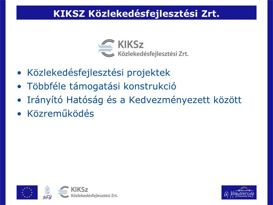 KIKSZ Közlekedésfejlesztési Zrt. Közlekedésfejlesztési projektek Többféle támogatási konstrukció Irányító Hatóság és a Kedvezményezett között Közreműk