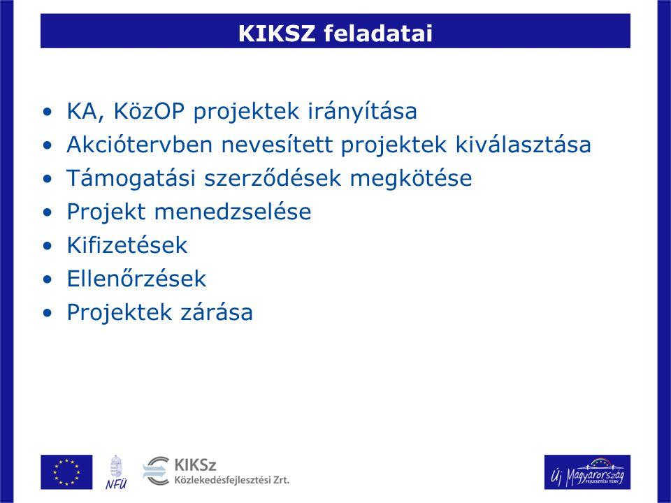 KIKSZ feladatai KA, KözOP projektek irányítása Akciótervben nevesített projektek kiválasztása Támogatási szerződések megkötése Projekt menedzselése Ki