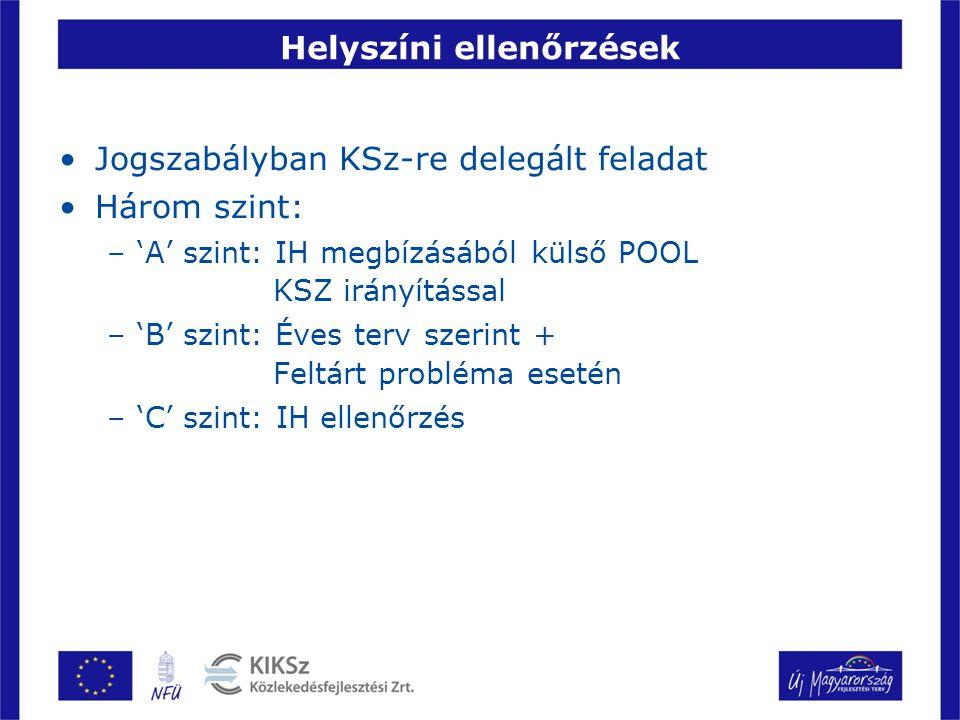 Helyszíni ellenőrzések Jogszabályban KSz-re delegált feladat Három szint: –'A' szint: IH megbízásából külső POOL KSZ irányítással –'B' szint: Éves ter